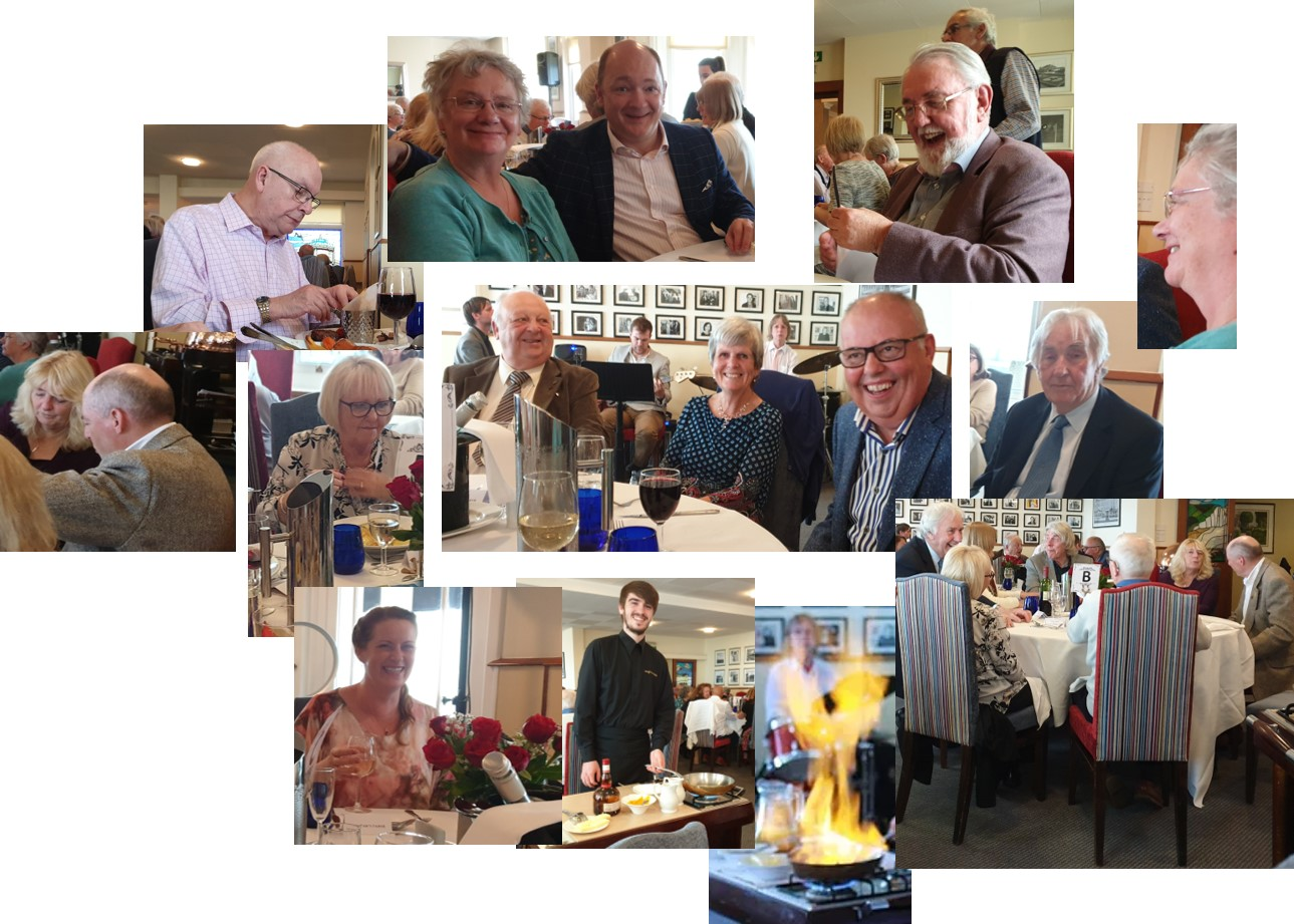 A selection of happy diners enjoying good food and jazz at the Langham Hotel Eastbourne
