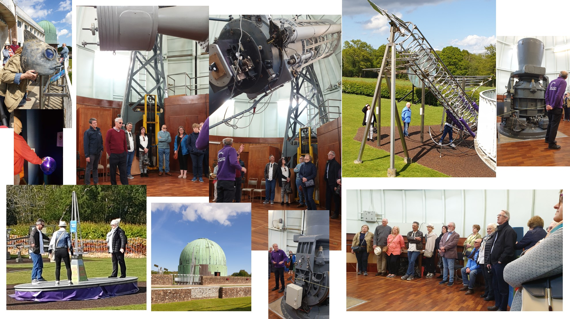 Friends and family of the Michelham Priory Lodge touring the The Observatory Science Centre Herstmonceux